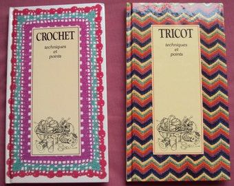 2 French Craft Books Knitting and Crochet Techniques by Dorothea Hall Crochet and Tricot 1981