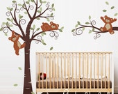 Wall Decals, Teddy Bears in Swirly Tree,  Nursery Wall Décor