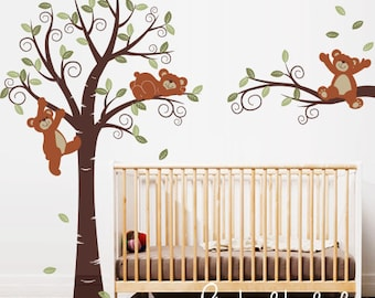 Teddy Bears in Swirly Tree,  Nursery Wall Décor