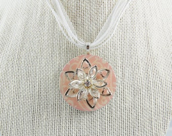 Handmade Upcycled Washer Necklace - Pale Pink Filigree with Vintage Faux Diamond Flower