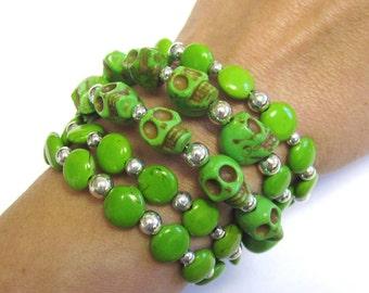 Day Of The Dead Bracelet Sugar Skull Cuff Wrap Silver Green