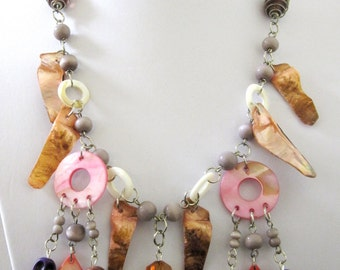 Sugar Skull Necklace Day of the Dead Mother of Pearl Pink Brown