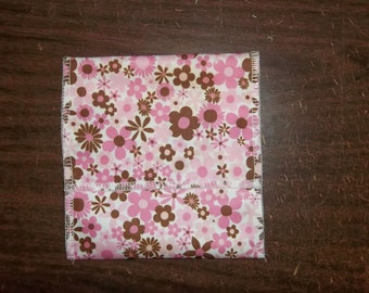 Nursing pad pouch Made with PUL Bright Pink & Brown Flower design