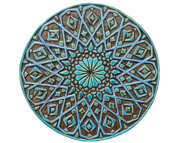 Moroccan wall decor made from ceramic - exterior wall art - moroccan art -  round moroccan