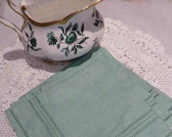 Set of Four Irish Linen Napkins / Four Green Irish Linen Napkins