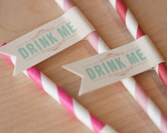 Printable Straw Flags - Drink Me, circus flags, carnival flags, alice in wonderland flags, straw flag
