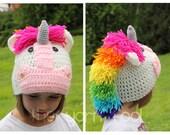 Crochet Unicorn Hat Newborn, Infant, Toddler, Youth, Adult Sizes