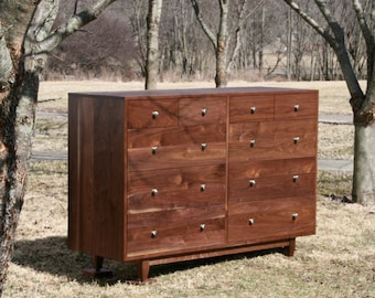 "X10420a Hardwood 10 Drawer Dresser, Inset Drawers,  Flat Panels, 60"" wide x 20"" deep x 40"" tall - natural color"