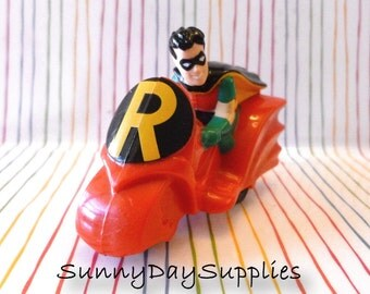 McDonald's Batman Toys, Robin, McDonald's Happy Meal Toys, 1993, Robin on a Motorcycle, Action Figures, Gifts for Kids, Toy on wheels