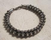 Vintage Sterling Silver Heavy Link Bracelet Cuff Bracelet Stamped 925 Jewelry
