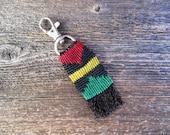 Handmade Micro Macrame Key Chain in Rastafarian Colors with Swivel Clip