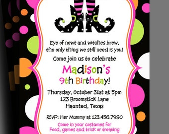 Halloween Invitation Printable or Printed with FREE SHIPPING - Birthday, Halloween Party - Witch Delight