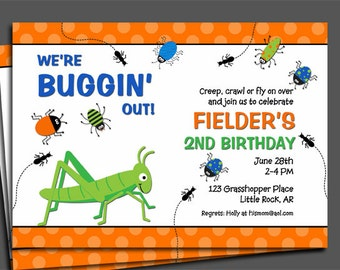 Bug Invitation Printable or Printed with FREE SHIPPING - Buggin Out Collection
