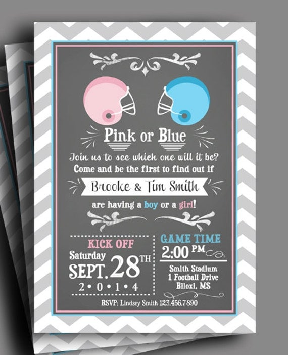 Football Gender Reveal Invitation Printable or Printed with