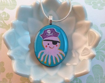 Hand Painted Pirate Octopus Pendant by Megumi Lemons