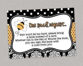 Book Request Card, Bumble Bee Baby Shower, Bee Baby Shower, Printable Book Request Card, Bee Gender Reveal
