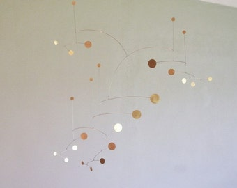 "Brass Dots Metal Art Mobile,  36"" x 36"" size"