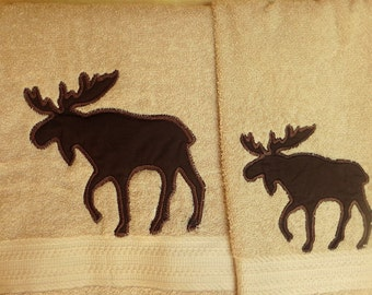 Log Cabin or Lodge North Woods Moose 2 pc Bath Towel Set Country Rustic Decor