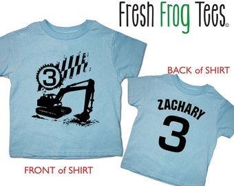 Construction Digger Birthday Shirt - tshirt 1st, 2nd, 3rd, 4th, 5th, 6th Personalized PICK YOUR COLORS!