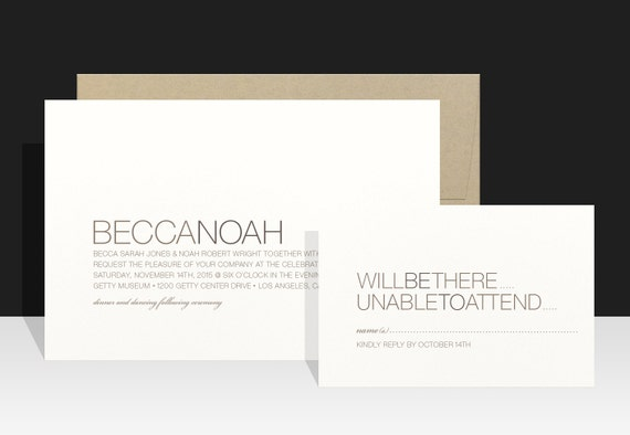 Modern Wedding Invitations - Simple Minimal Wedding Invitation - Rustic Wedding Invites - Becca