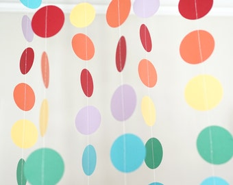 Rainbow Circle Garland, Photo Prop, Party Decoration, Event Decor
