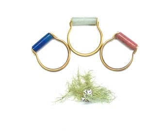 Flora Ring - Natural Stone Ring with Hand-formed Brass Band