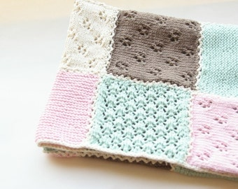 Knit baby blanket patch work. Lace knitting. Handmade. Baby shower gift. Pink brown mint green white. Photo prop