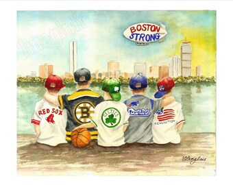 Boston Strong Print - 8x10/5x7  - Red Sox, Bruins, Celtics, Patriots & Revolution kids watch Boston skyline