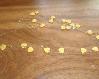 vintage necklace long goldtone chain yellow metal heart dangles