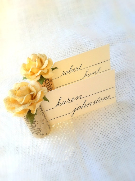 Wine cork place card holders in champagne cream wedding for Place settings name card holders