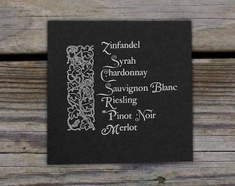 Wine Type Letterpress Print  / Wall Art