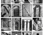 Letter N Capital Letter. Pictures of Wrought Iron, Stone Fences, Metal Railings, Wooden Doors, Church Windows in Blank Greeting Card