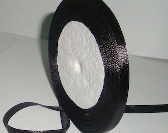 "Black Satin Ribbon-6mm-1/4"""
