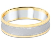 Mens Two Tone Wedding Ring 14K White & Yellow Gold 6MM High Polished Size (7-12)