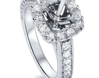 Cushion .55ct Cut Halo Diamond Vintage Engagement Ring Setting