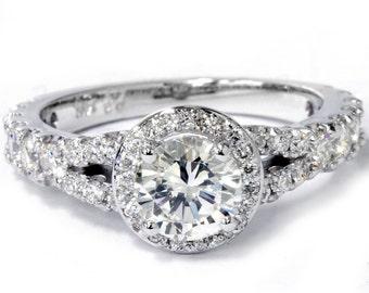 1.25 Ct Halo Split Shank Diamond Engagement Ring 14K White Gold (Not Enhanced)