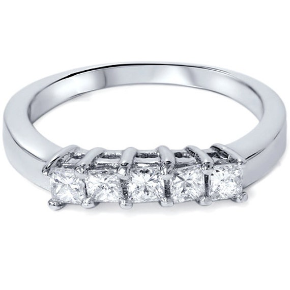 Princess Cut .52CT Diamond Wedding Curved Ring Enhancer Band 14K White ...