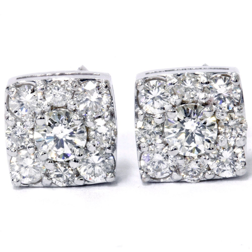 1 20Ct Cushion Halo Diamond Studs Round Brilliant Cut Diamonds