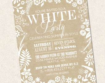 all white party | etsy, Party invitations