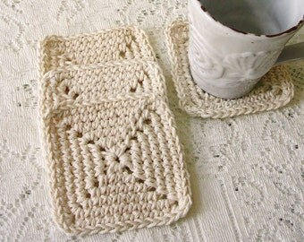 Crochet Coaster Set – Ecru Square Cotton Coasters  - Modern Minimalist Yarn Coaster - Drink Coasters Handmade