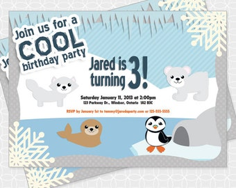 Party Printable Arctic Animals Invitation - Personalized Printable, ice, snow, penguin, polar bear, seal, wolf, igloo, birthday