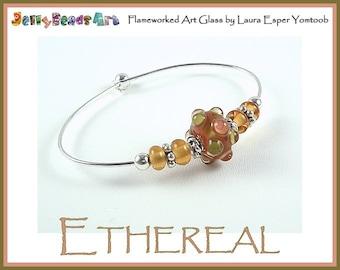 lampwork bead bangle bracelet - ETHEREAL