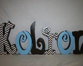 Nursery letters, 6, Name sign, Baby nursery letters, Baby name letters, Hanging letters, Nursery decoration, Blue and Brown
