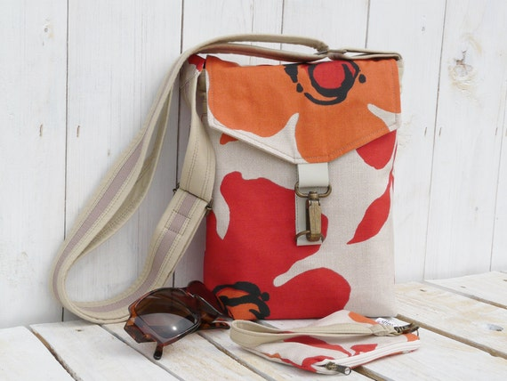 canvas cross body bag hipster body bag red orange floral adjustable strap small tote bag and mini clutch