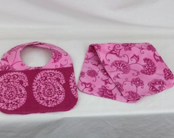 Ready to ship Pink Bib and Burp cloth