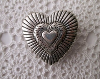 silver western cowboy belt buckle - supplies, heart