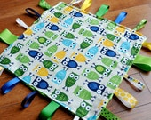 Blue and Green Owl Taggie Blanket- Personalization Available
