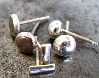 Unisex  Collection. Sterling Silver Stud Earring. Eco Friendly Jewelry. One Post Earring