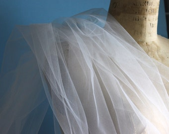 White  Bridal Illusion Tulle.  3 yards.. 108 Inches Wide..  bridal wear, veils, proms