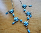 Turquoise and silver tone Choker/ Necklace